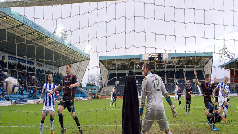 Lee Ashcroft heads Kilmarnock in front at Rugby Park