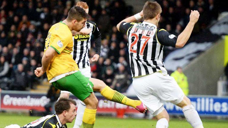 Charlie Mulgrew: Breaks the deadlock for Celtic at St Mirren
