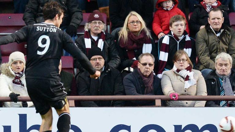 John Sutton: Scores the only goal at Tynecastle as Motherwell beat Hearts