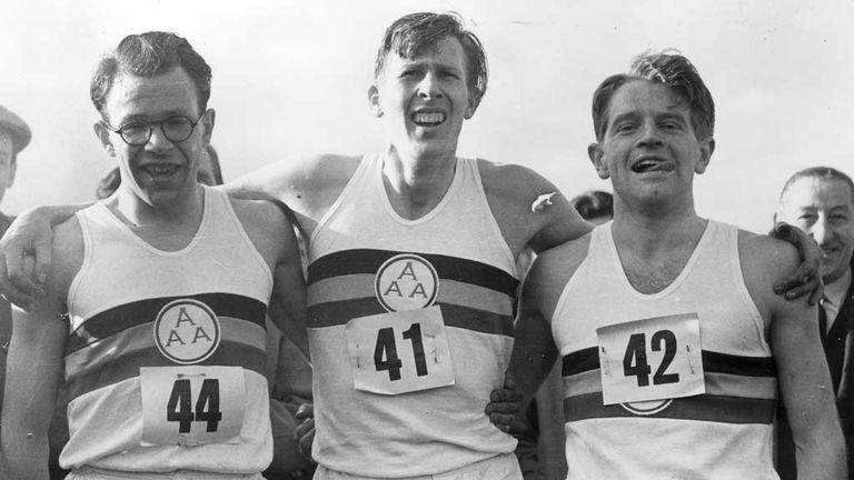 Roger Bannister (C) was paced by Chris Brasher (L) and Christopher Chataway (L) in his sub-four minute mile