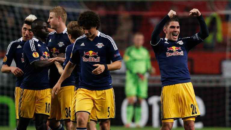 Jonathan Soriano (right): Celebrates his superb goal for Salzburg at Ajax