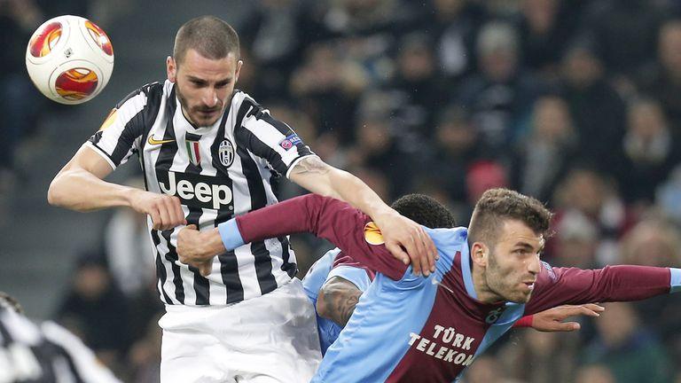 Leonardo Bonucci (l): Juventus defender fights for the ball
