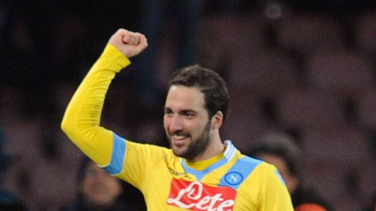 Gonzalo Higuain: Celebrates steering Napoli into the final