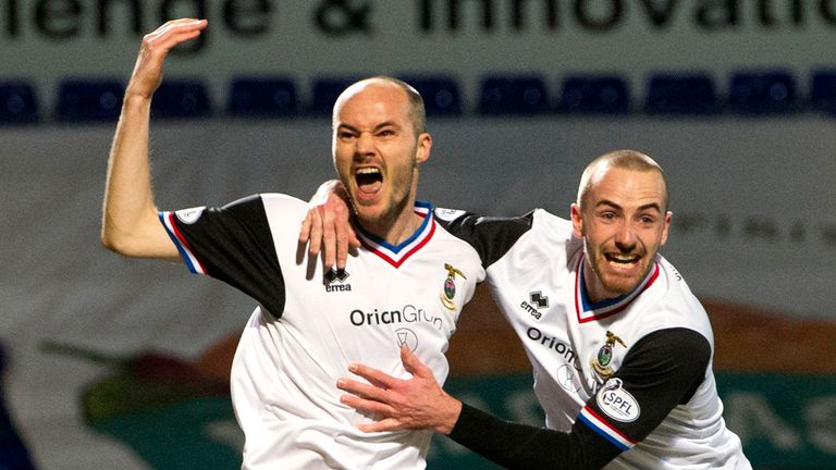 David Raven celebrates netting an early opener for rampant Caley Thistle