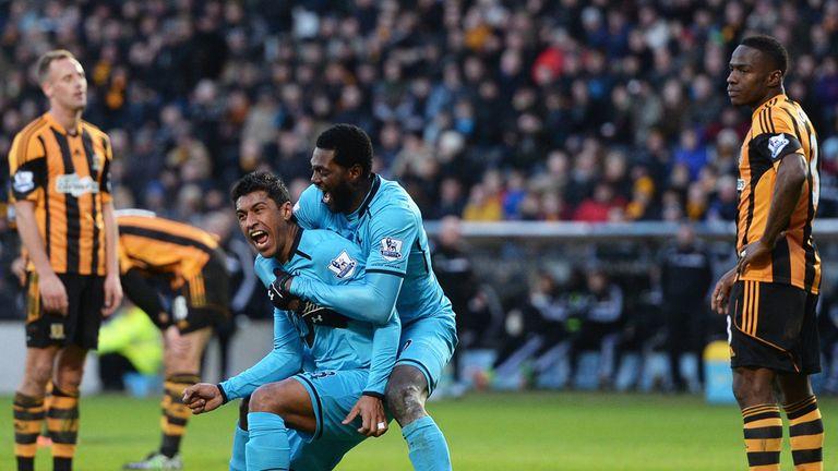 Tottenham celebrate Paulinho's equaliser