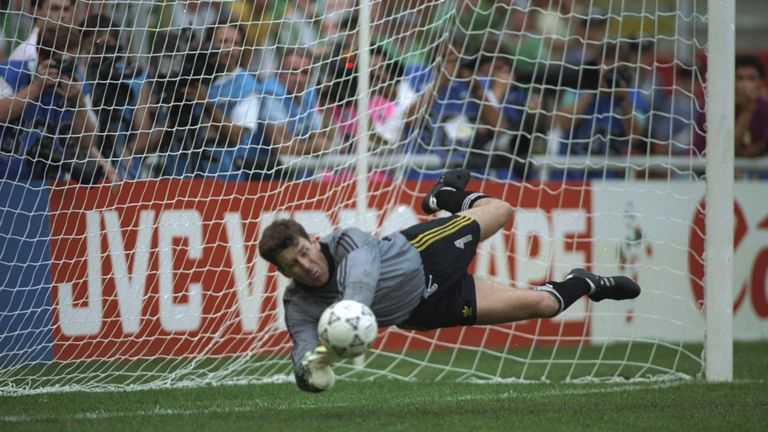 Ireland goalkeeper Pat Bonner makes a great save during the penalty shoot out