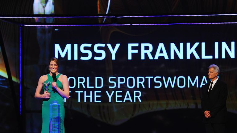 Missy Franklin receives her Laureus World Sportswoman of the Year award in 2014
