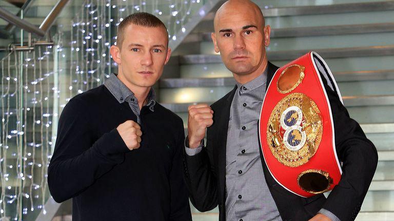 Paul Butler (l) and Stuart Hall ahead of June's bantamweight showdown