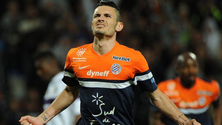 Remy Cabella: Midfielder celebrates scoring for Montpellier