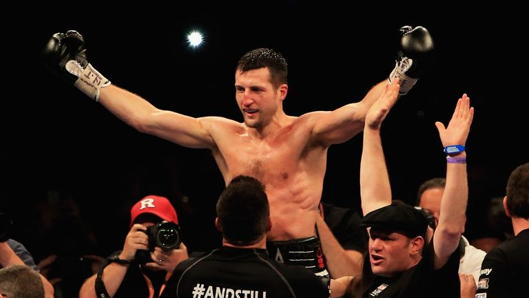 Carl Froch celebrates his win over George Groves at Wembley Stadium