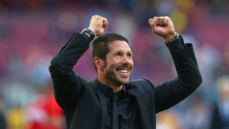 Diego Simeone celebrates Atletico's title win in 2014