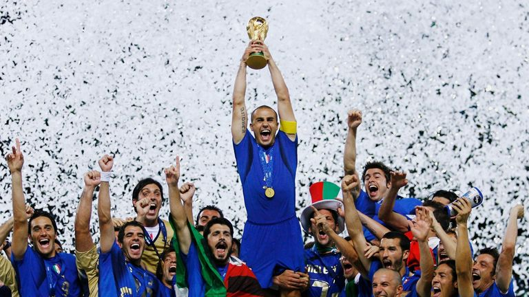 Fabio Cannavaro lifts the World Cup in 2006