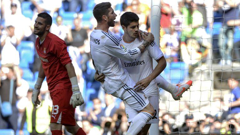 Alvaro Morata celebrates after scoring Real Madrid's second goal