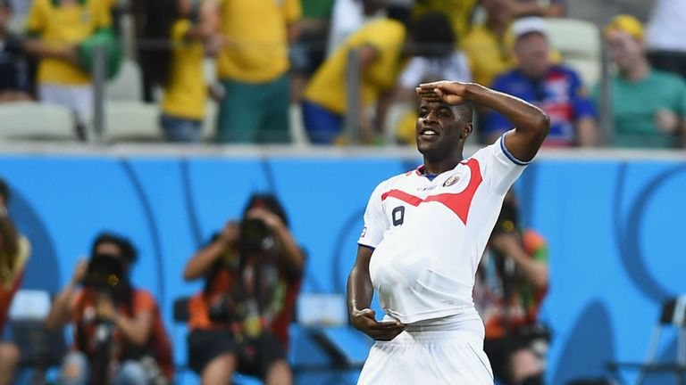 Campbell celebrates scoring for Costa Rica against Uruguay at the World Cup