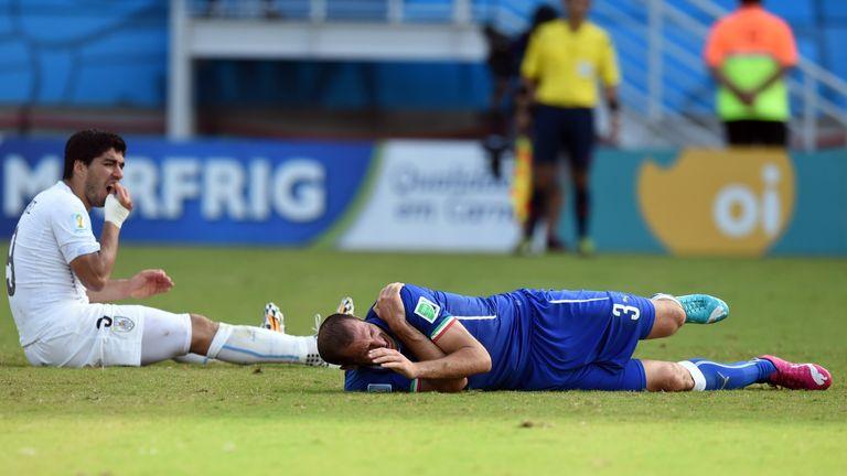 Uruguay's forward Luis Suarez following the incident with Italy defender Giorgio Chiellini