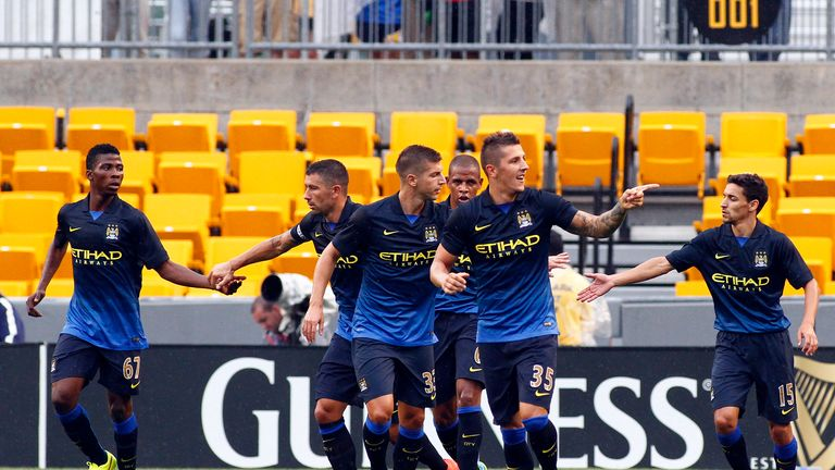 Jovetic: Celebrates his opening goal for Manchester City