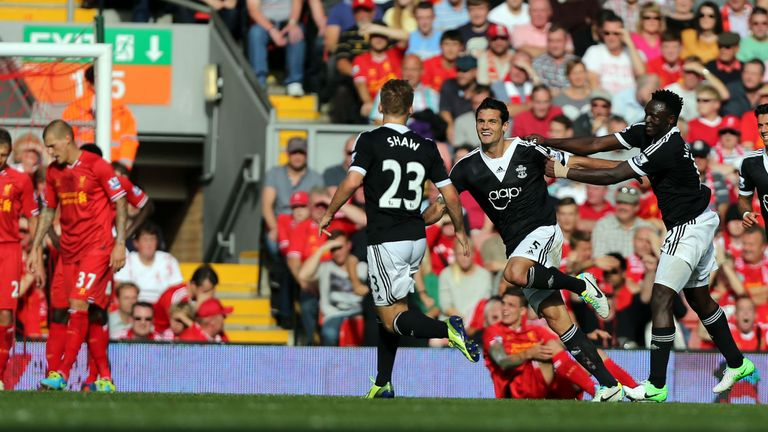 Dejan Lovren: Southampton defender celebrates after scoring at Anfield last season