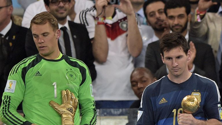 Manuel Neuer and Lionel Messi collect their award in 2014