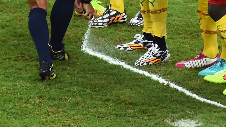 Heine Allegmagne's vanishing spray in action during the on-going World Cup finals in Brazil