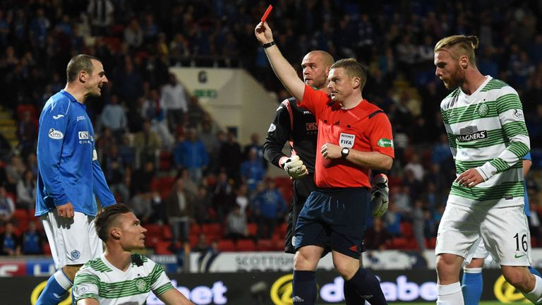 Dave Mackay shown the red card for his 'foul' on Celtic winger Derk Boerrigter