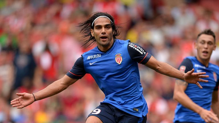 Radamel Falcao celebrates after scoring against Arsenal