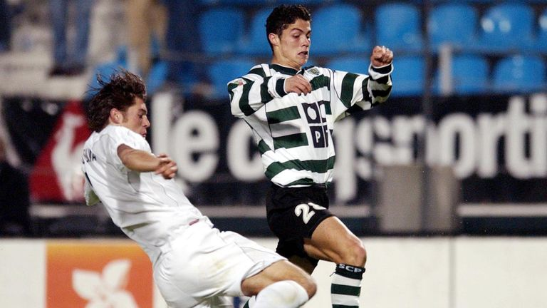 Cristiano Ronaldo (right) was signed by Manchester United in 2003 from Sporting Lisbon