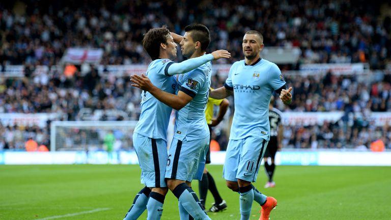 Sergio Aguero goal celeb, Newcastle United v Manchester City, Premier League