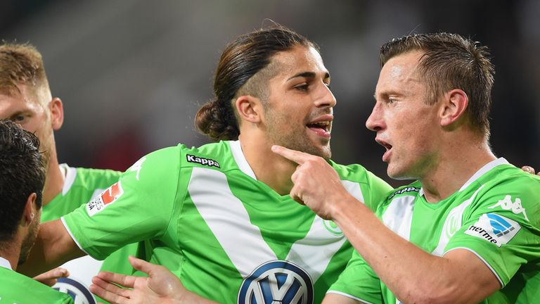 Ivica Olic of Wolfsburg celebrates scoring their second goal