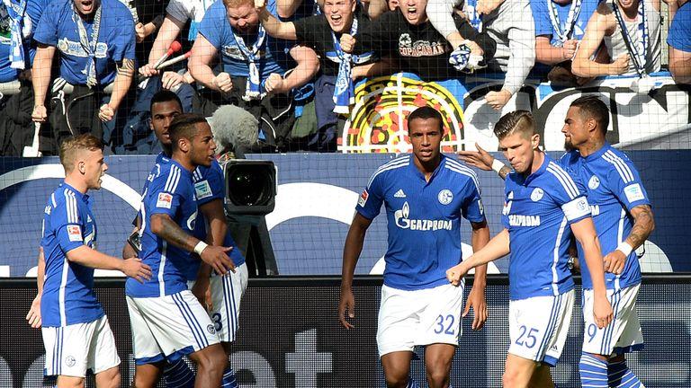Joel Matip of Schalke celebrates the opening goal