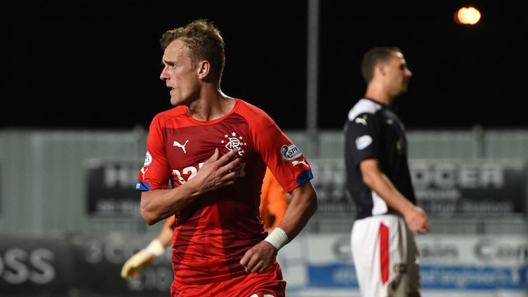 Dean Shiels: The Rangers ace celebrates after firing the visitors into the lead against Falkirk.