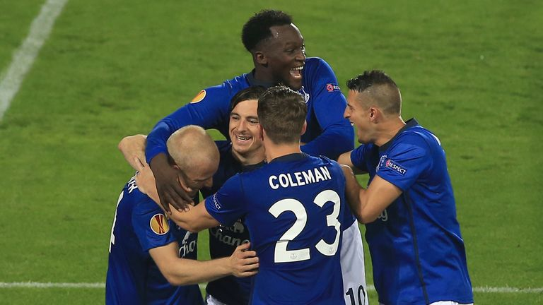 Steven Naismith: Celebrates after Everton's opening goal against Wolfsburg