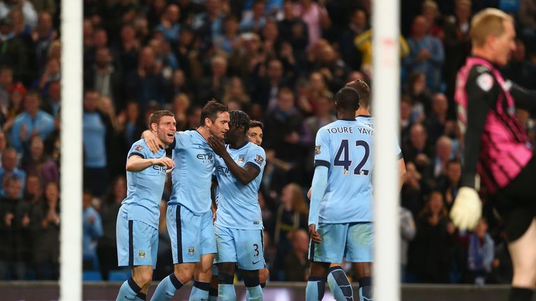 Frank Lampard: Celebrates opening the scoring for Manchester City