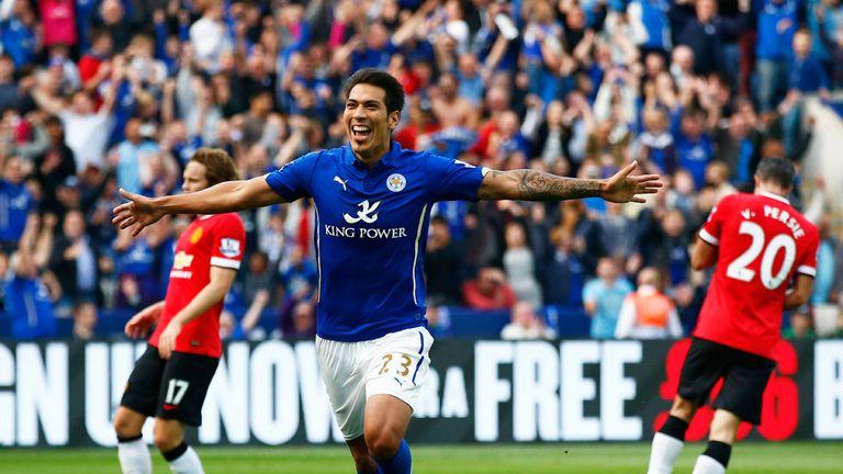 Leonardo Ulloa celebrates Leicester's fifth goal at the King Power Stadium