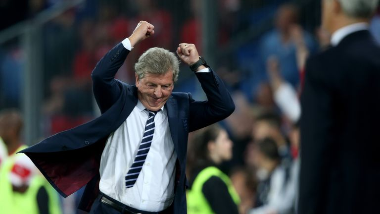 Joy for Roy: the 2-0 win in Basel eases the pressure on England manager Hodgson