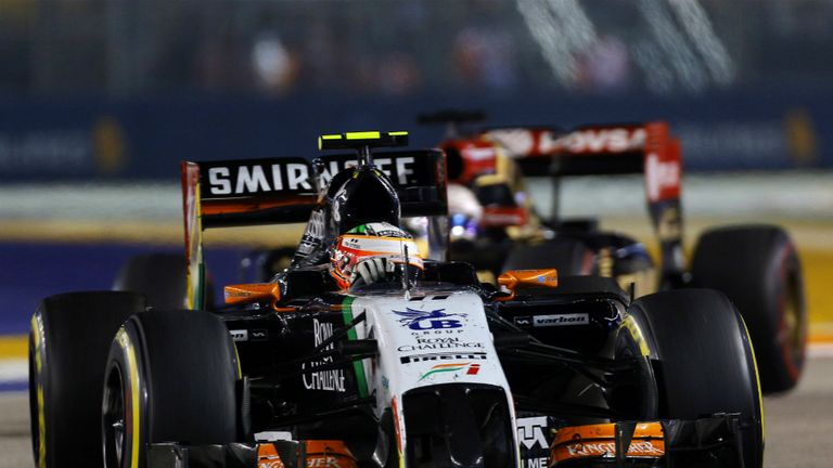 Force India's Perez finished one place behind Vergne in seventh