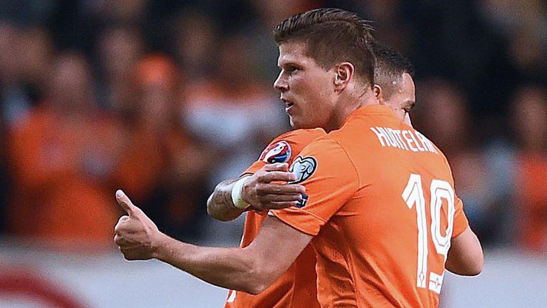 Huntelaar: Celebrates goal against Kazakhstan