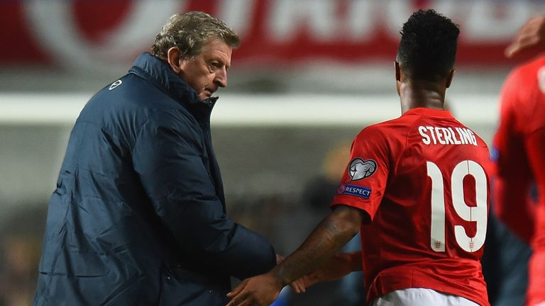 Hodgson: Shakes hands with Sterling after win in Tallinn