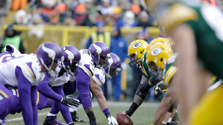 The Green Bay Packers line up against the Minnesota Vikings at Lambeau Field on November 24, 2013