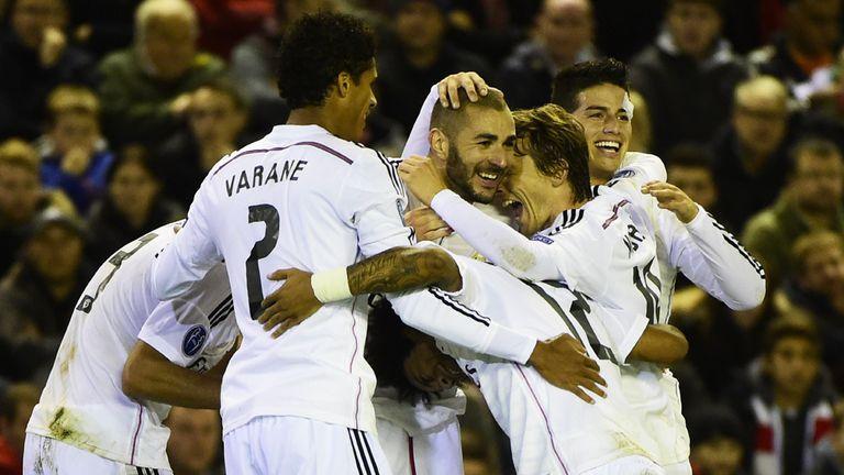 Karim Benzema: Celebrates his second goal