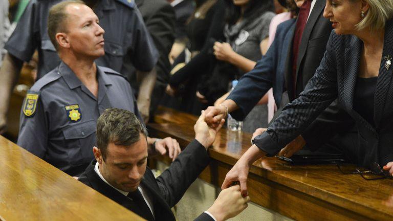 Oscar Pistorius leaves the Pretoria High Court after his sentencing last week