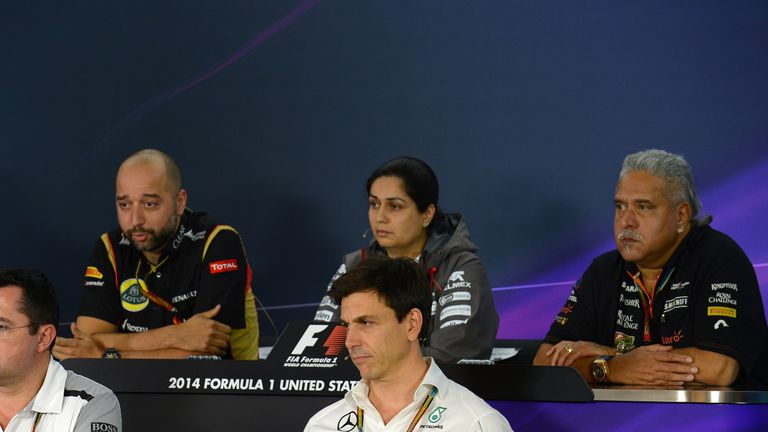 Lotus's Gerard Lopez, Sauber's Monisha Kaltenborn and Force India's Vijay Mallya