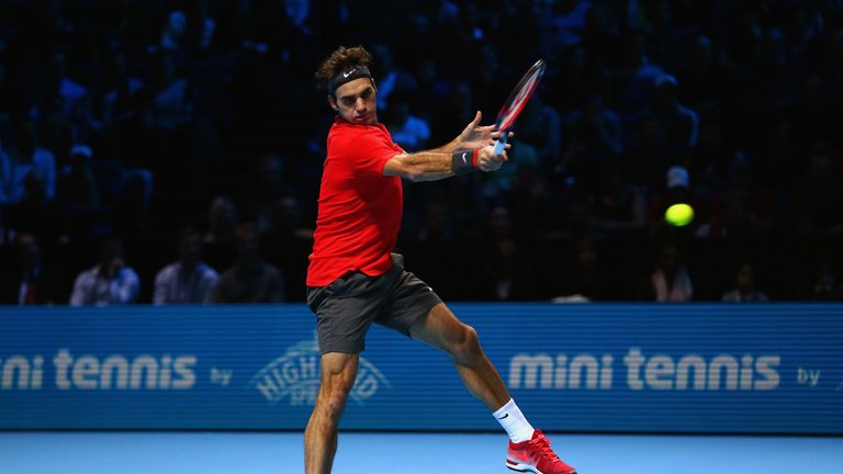 Federer hits a forehand in his win over Stan Wawrinka