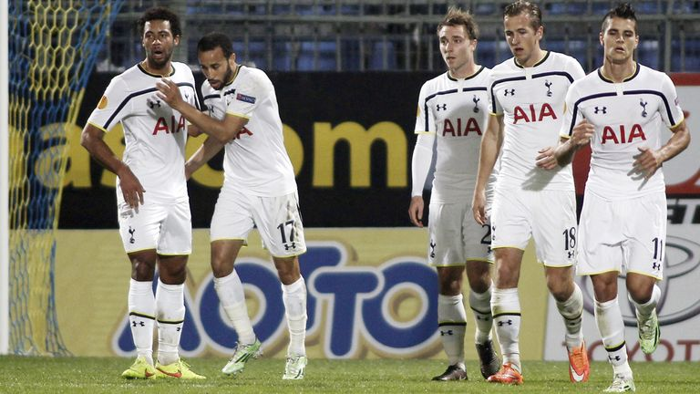 Townsend: Celebrates his goal for Tottenham in the first half