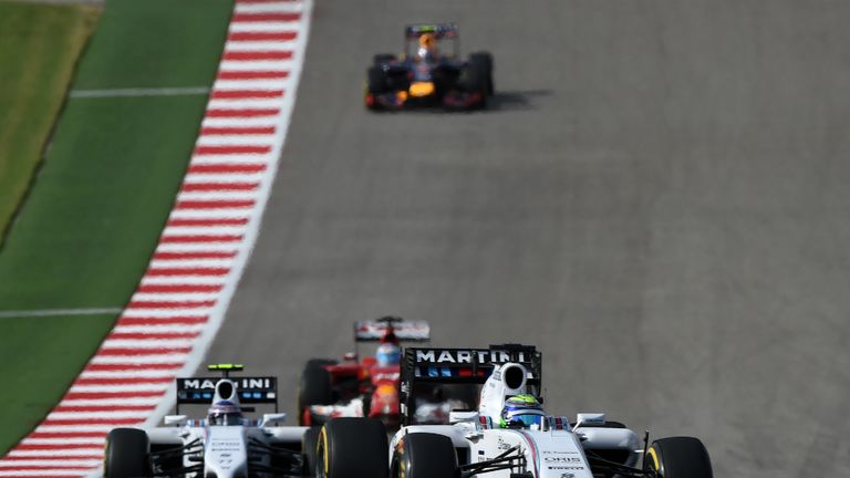 Felipe Massa leads Valtteri Bottas at the Circuit of The Americas