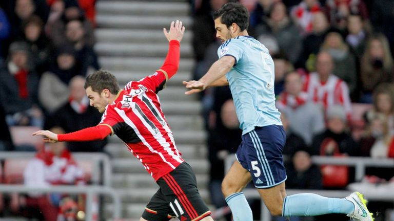 Adam Johnson won Sunderland a penalty after contact from James Tomkins