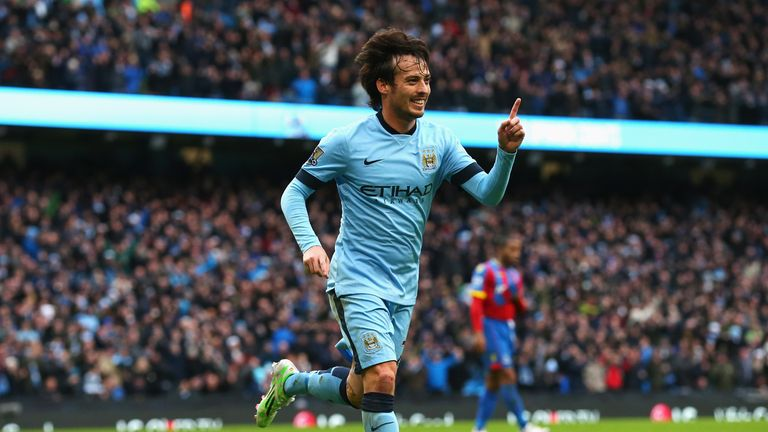 David Silva celebrates scoring Man City's second goal