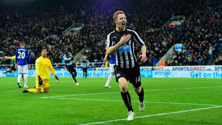 Jack Colback: Celebrates his first goal for Newcastle