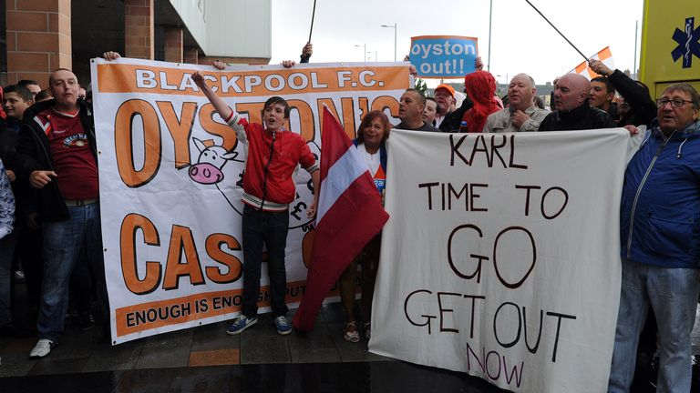Blackpool fans have consistently protested against the Oyston's ownership