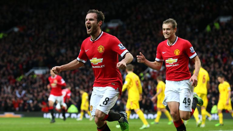 Juan Mata scored Manchester United's second goal five minutes before half-time