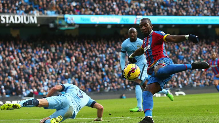Yannick Bolasie shoots into the side-netting